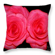 Pink Roses With Colored Edges Effects Throw Pillow