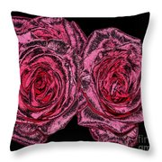 Pink Roses With Dark And Rough Chrome  Effects Throw Pillow