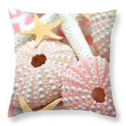 Pink Sea Urchins Throw Pillow