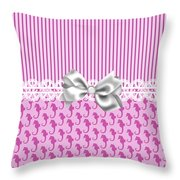 Pink Seahorses Throw Pillow