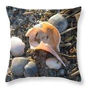Pink Shell Bowl Throw Pillow