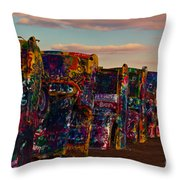 Pink Sky At Cadillac Ranch Throw Pillow