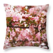 Pink Spring Apple Blossoms Throw Pillow