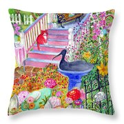 Pink Stairs Throw Pillow