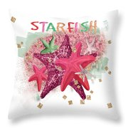 Pink Starfish Throw Pillow
