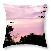 Pink Sunrise Geese Silhouette Throw Pillow