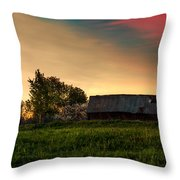 Pink Sunrise. Old Barn An Cherry Blossom Throw Pillow