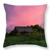 Pink Sunrise. Old Barn Throw Pillow