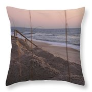 Pink Sunrise On The Beach Throw Pillow