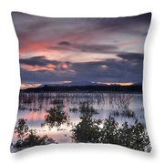 Pink Sunset At The Lake Throw Pillow