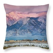 Pink Sunset On Taos Mountain Throw Pillow