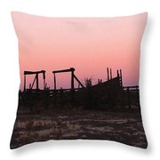 Pink Sunset Over Corral Throw Pillow