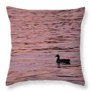 Pink Sunset With Duck In Silhouette Throw Pillow by Marianne Campolongo