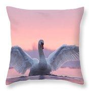 Pink Swan Throw Pillow