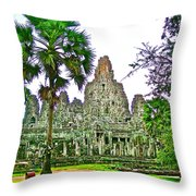 Pink Tower In The Bayon In Angkor Thom In Angkor Wat Archeological Park Near Siem Reap-cambodia Throw Pillow