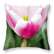 Pink Tulip - A Digital Painting Throw Pillow