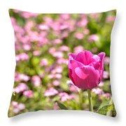Pink Tulip Close-up Throw Pillow