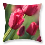 Pink Tulip Dream Throw Pillow