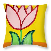 Pink Tulip Throw Pillow