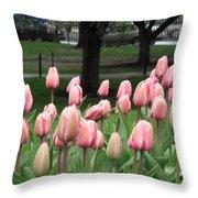 Pink Tulip Patch Throw Pillow
