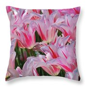 Pink Tulips 3 Throw Pillow