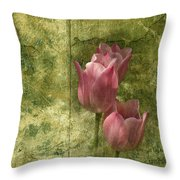 Pink Tulips And Old Clock Throw Pillow