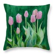 Pink Tulips Colorful Flowers Garden Art Original Watercolor Painting Artist K. Joann Russell Throw Pillow