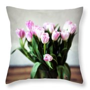 Pink Tulips In A Vase Throw Pillow