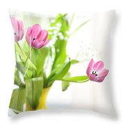 Pink Tulips In Yellow Vase Throw Pillow