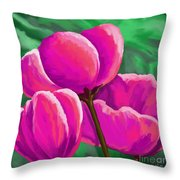 Pink Tulips On Green Throw Pillow