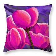 Pink Tulips On Purple Throw Pillow