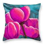 Pink Tulips On Teal Throw Pillow