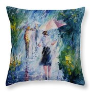 Pink Umbrella - Palette Knife Oil Painting On Canvas By Leonid Afremov Throw Pillow