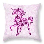 Pink Unicorn - Animal Art Throw Pillow