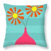 Pink Vase On Blue Throw Pillow