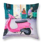Pink Vespa Throw Pillow