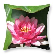 Pink Waterlily Throw Pillow
