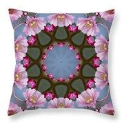 Pink Weeping Cherry Blossom Kaleidoscope Throw Pillow