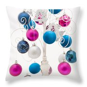 Pink White And Blue Christmas Throw Pillow