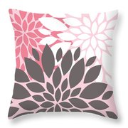 Pink White Grey Peony Flowers Throw Pillow