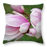 Pink White Wet Raindrops Magnolia Flowers Throw Pillow