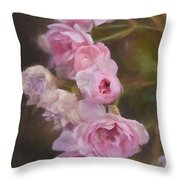 Pink Winter Roses One Throw Pillow