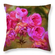 Pink Winter Roses Three Throw Pillow
