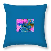 Pink With Blue Irises Throw Pillow