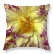 Pink Yellow Dahlia Throw Pillow