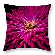 Pink Zinnia Digital Wave Throw Pillow