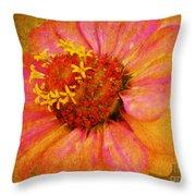 Pink Flower Wall Art Zinnia Floral Fine Art Throw Pillow