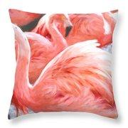 Pinked Flamingos Throw Pillow