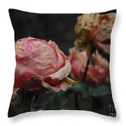 Pink Roses In The First Snow I V Throw Pillow