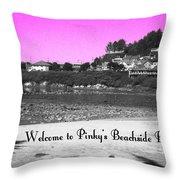 Pinky's Beachside Resort Throw Pillow